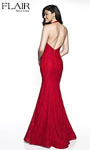 Image of v-neck lace formal gown by FLAIR. Style: BL-FL-19014 Back Image