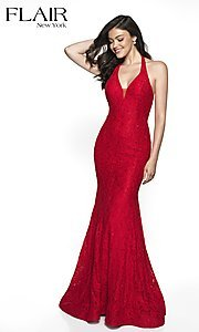 Image of v-neck lace formal gown by FLAIR. Style: BL-FL-19014 Detail Image 3