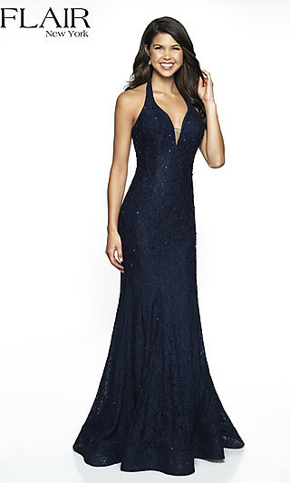 Long V-Neck Lace Formal Gown by FLAIR