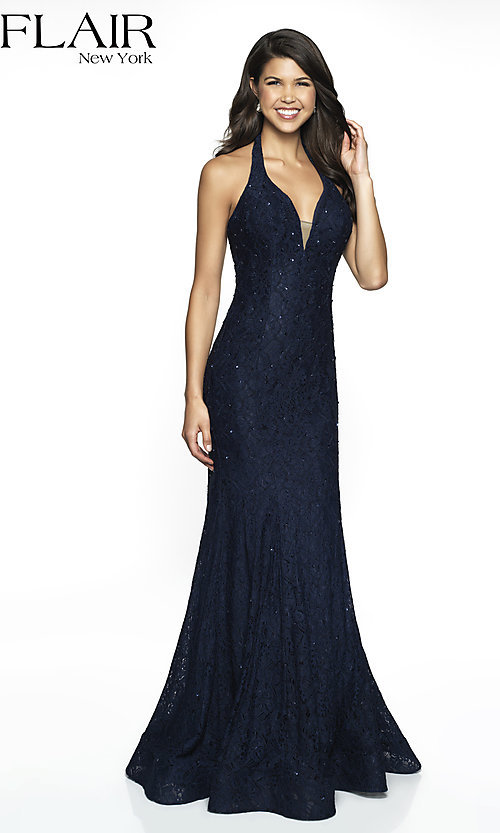 Image of v-neck lace formal gown by FLAIR. Style: BL-FL-19014 Front Image