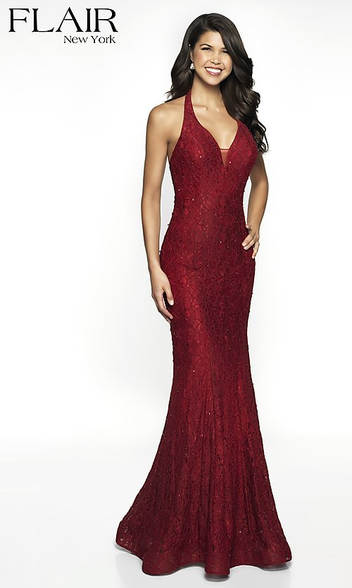 Image of v-neck lace formal gown by FLAIR. Style: BL-FL-19014 Detail Image 5