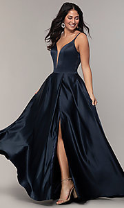 Image of FLAIR sleeveless a-line v-neck long formal gown. Style: BL-FL-19016 Detail Image 3