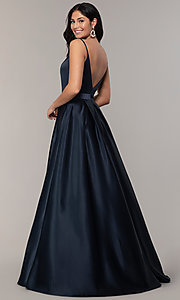 Image of FLAIR sleeveless a-line v-neck long formal gown. Style: BL-FL-19016 Detail Image 4