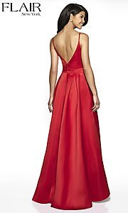 Image of FLAIR sleeveless a-line v-neck long formal gown. Style: BL-FL-19016 Back Image