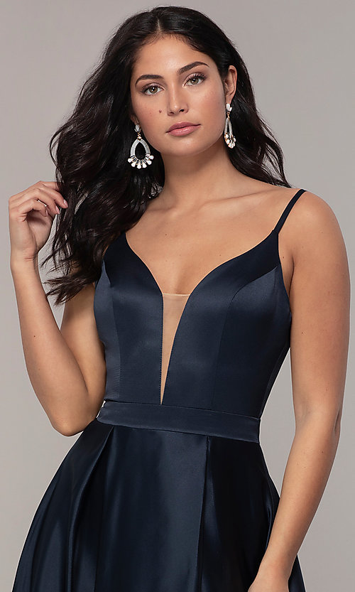Image of FLAIR sleeveless a-line v-neck long formal gown. Style: BL-FL-19016 Detail Image 5