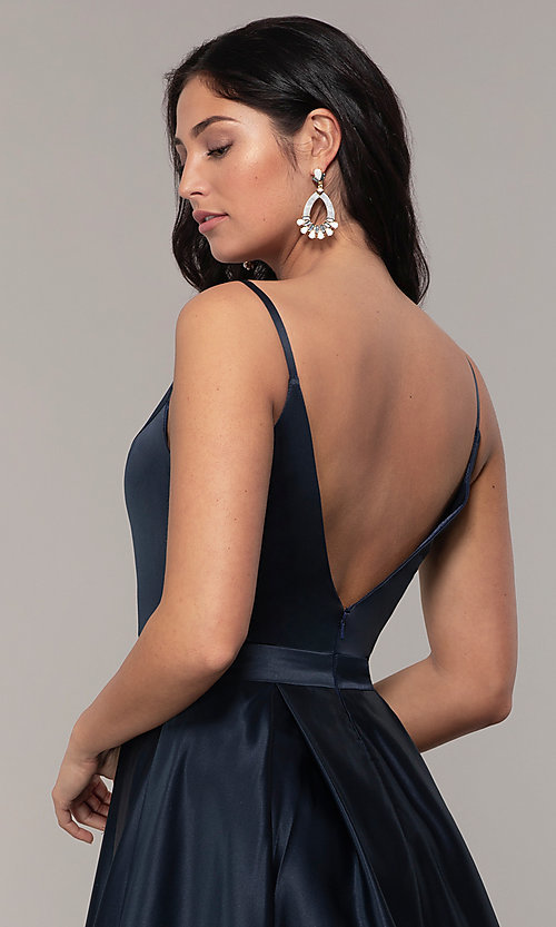 Image of FLAIR sleeveless a-line v-neck long formal gown. Style: BL-FL-19016 Detail Image 6