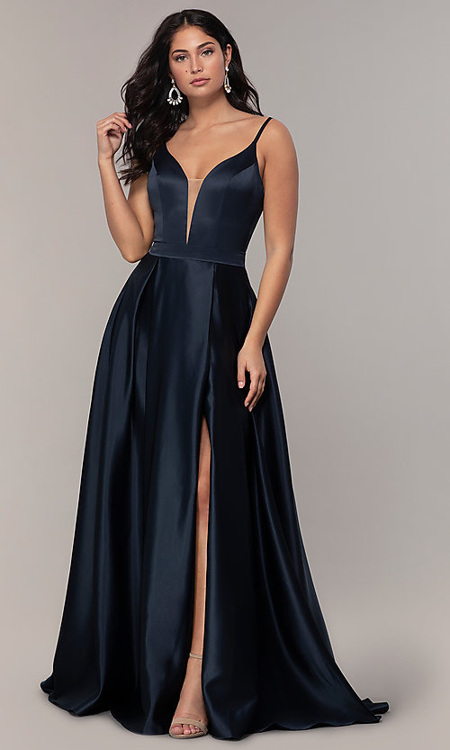 Image of FLAIR sleeveless a-line v-neck long formal gown. Style: BL-FL-19016 Detail Image 7