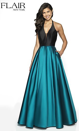 Long Halter Two-Tone Formal Gown with an Open Back