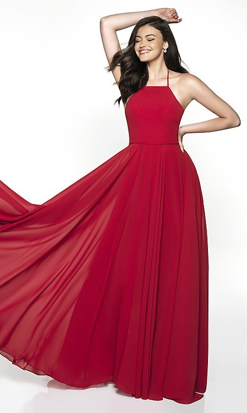 Image of long FLAIR formal gown with open back. Style: BL-FL-19062 Front Image