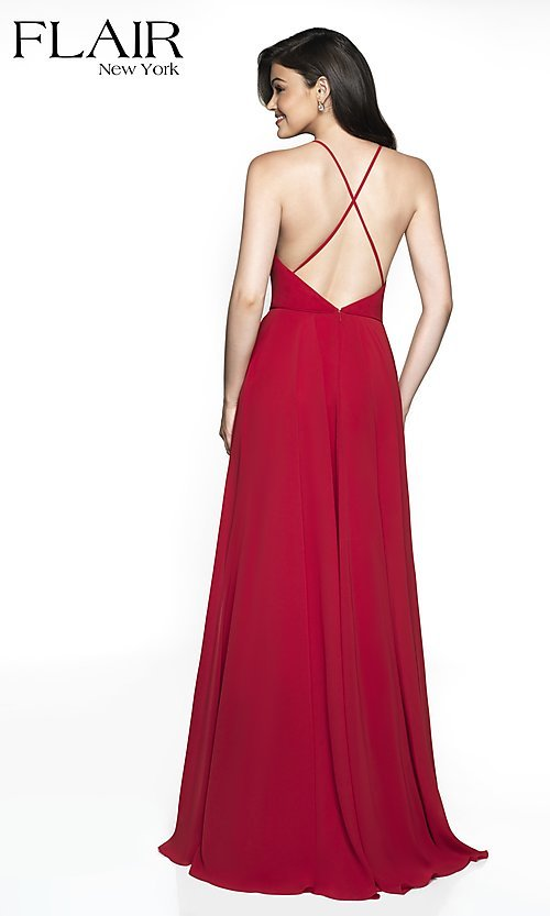 Image of long FLAIR formal gown with open back. Style: BL-FL-19062 Back Image