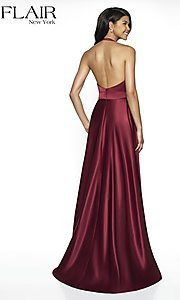Image of long open-back halter formal dress by FLAIR. Style: BL-FL-19065 Back Image