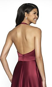 Image of long open-back halter formal dress by FLAIR. Style: BL-FL-19065 Detail Image 2