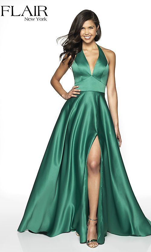 Image of long open-back halter formal dress by FLAIR. Style: BL-FL-19065 Detail Image 5