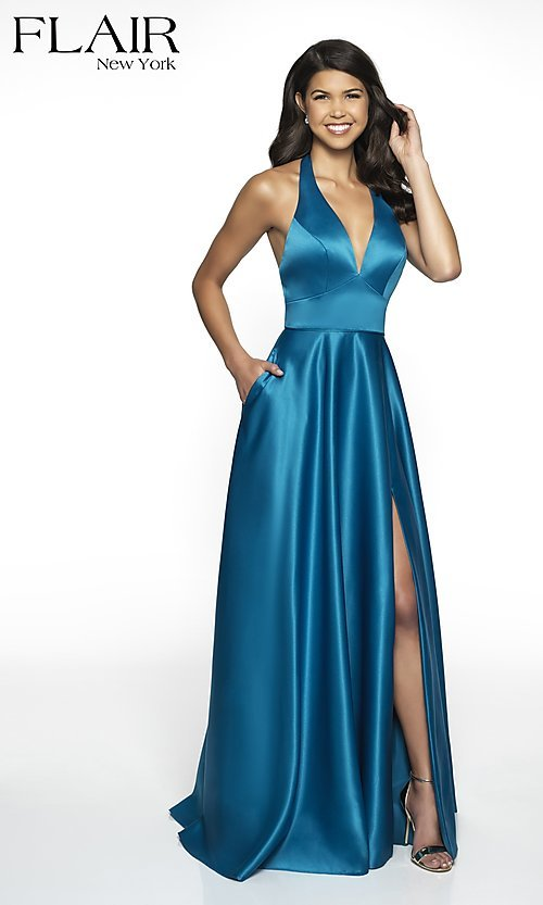 Image of long open-back halter formal dress by FLAIR. Style: BL-FL-19065 Detail Image 3