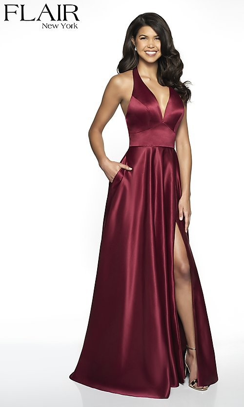 Image of long open-back halter formal dress by FLAIR. Style: BL-FL-19065 Front Image