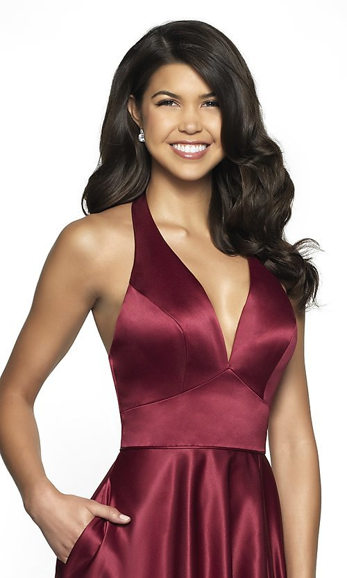 Image of long open-back halter formal dress by FLAIR. Style: BL-FL-19065 Detail Image 1