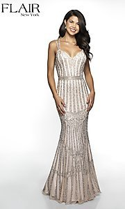 Image of long beaded FLAIR formal evening gown with v-neckline. Style: BL-FL-19077 Front Image