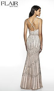 Image of long beaded FLAIR formal evening gown with v-neckline. Style: BL-FL-19077 Back Image