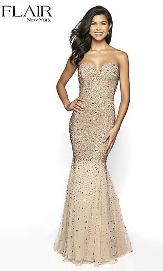 FLAIR Long Strapless Beaded Formal Gown