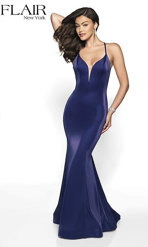 Image of open-back v-neck long formal dress by FLAIR. Style: BL-FL-19124 Detail Image 5
