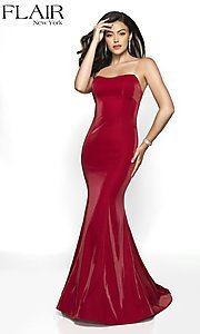 Image of long FLAIR strapless formal dress with train. Style: BL-FL-19126 Front Image