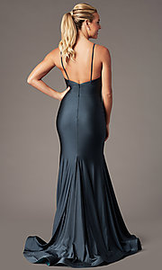 Image of long sleeveless fitted formal gown with train. Style: BL-FL-19142 Front Image