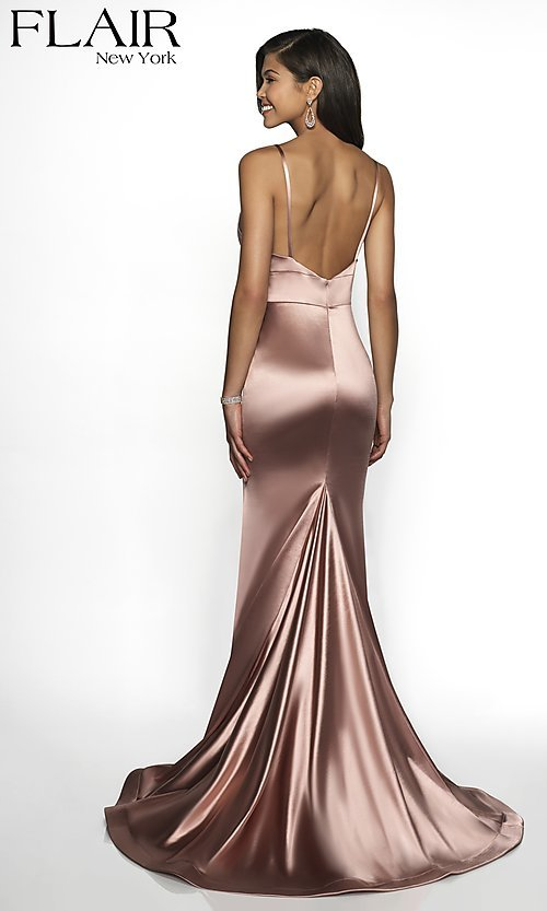 Image of long sleeveless fitted formal gown with train. Style: BL-FL-19142 Back Image