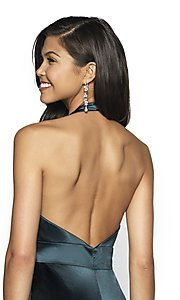 Image of open-back long mermaid-style formal dress by FLAIR. Style: BL-FL-19143 Detail Image 2