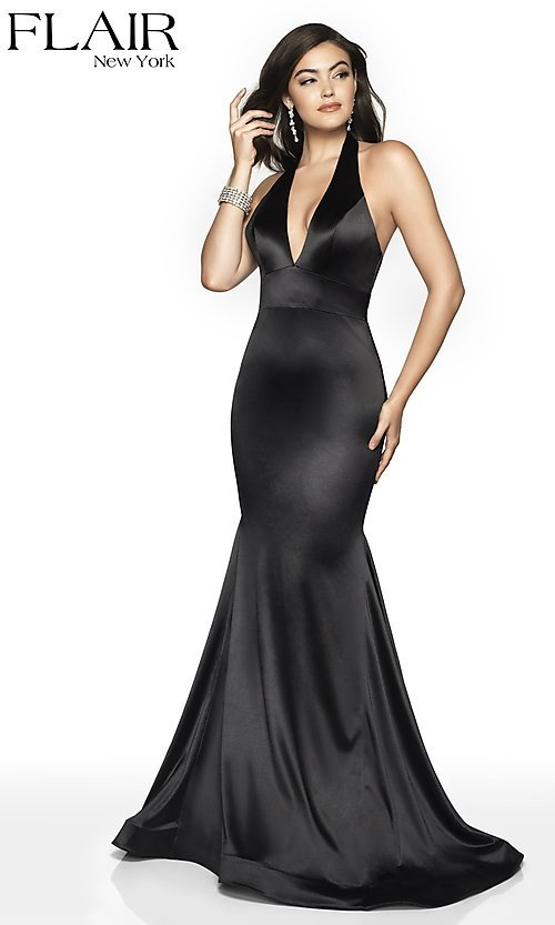 Image of open-back long mermaid-style formal dress by FLAIR. Style: BL-FL-19143 Detail Image 6