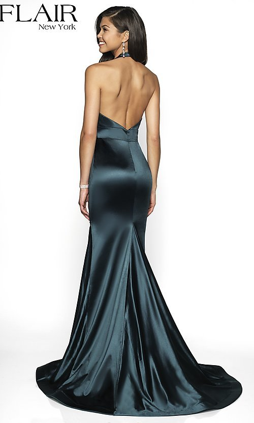 Image of open-back long mermaid-style formal dress by FLAIR. Style: BL-FL-19143 Back Image