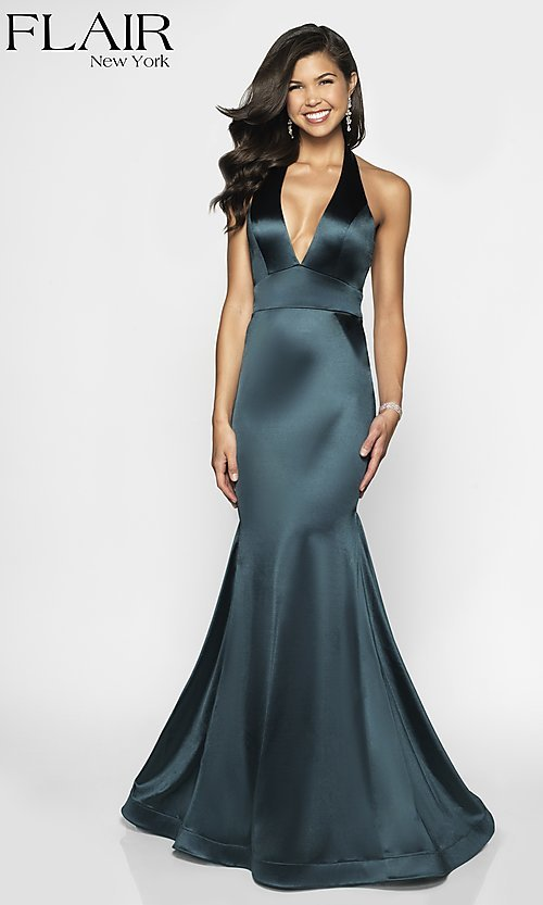 Image of open-back long mermaid-style formal dress by FLAIR. Style: BL-FL-19143 Front Image