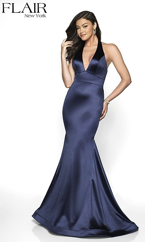 Image of open-back long mermaid-style formal dress by FLAIR. Style: BL-FL-19143 Detail Image 4