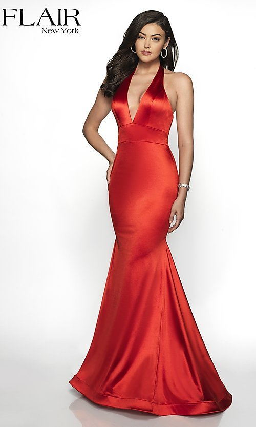 Image of open-back long mermaid-style formal dress by FLAIR. Style: BL-FL-19143 Detail Image 5
