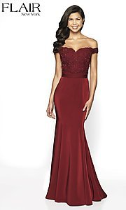 Image of long fitted off-shoulder sweetheart formal gown. Style: BL-FL-19004 Front Image
