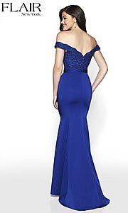 Image of long fitted off-shoulder sweetheart formal gown. Style: BL-FL-19004 Back Image