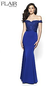 Image of long fitted off-shoulder sweetheart formal gown. Style: BL-FL-19004 Detail Image 2