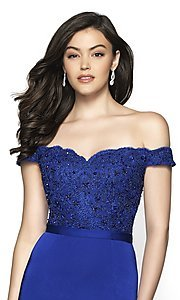 Image of long fitted off-shoulder sweetheart formal gown. Style: BL-FL-19004 Detail Image 3