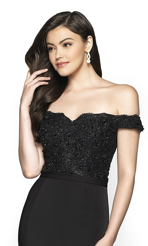 Image of long fitted off-shoulder sweetheart formal gown. Style: BL-FL-19004 Detail Image 5