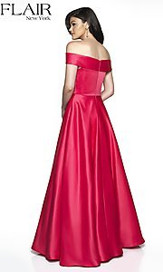Image of FLAIR formal gown with off-the-shoulder neckline. Style: BL-FL-19015 Back Image
