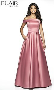 Image of FLAIR formal gown with off-the-shoulder neckline. Style: BL-FL-19015 Front Image