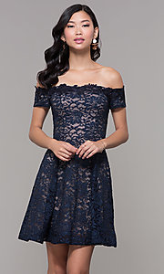 Image of off-the-shoulder short lace navy wedding-guest dress. Style: MY-5359ZJ1C Front Image