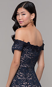Image of off-the-shoulder short lace navy wedding-guest dress. Style: MY-5359ZJ1C Detail Image 2