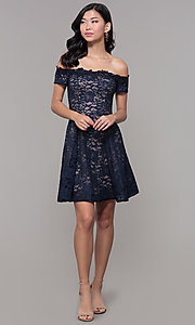 Image of off-the-shoulder short lace navy wedding-guest dress. Style: MY-5359ZJ1C Detail Image 3
