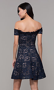 Image of off-the-shoulder short lace navy wedding-guest dress. Style: MY-5359ZJ1C Back Image