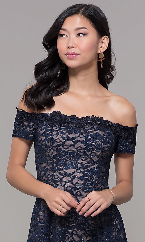 Image of off-the-shoulder short lace navy wedding-guest dress. Style: MY-5359ZJ1C Detail Image 1