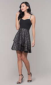 Image of tiered-lace-skirt short black holiday party dress. Style: MY-5521KG1C Detail Image 3