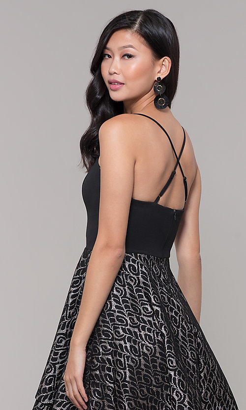 Image of tiered-lace-skirt short black holiday party dress. Style: MY-5521KG1C Detail Image 2