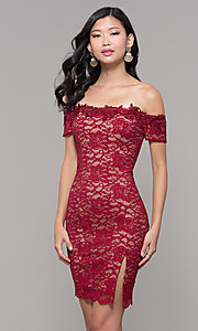 Image of lace off-the-shoulder wine red short holiday dress. Style: MY-5358ZJ1C Front Image