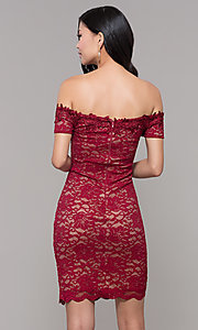 Image of lace off-the-shoulder wine red short holiday dress. Style: MY-5358ZJ1C Back Image