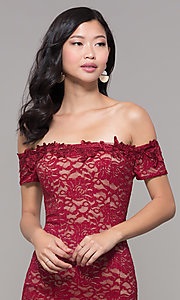 Image of lace off-the-shoulder wine red short holiday dress. Style: MY-5358ZJ1C Detail Image 1